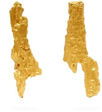 Ingy Stockholm - Mismatched Painted Wood Earrings - Womens - Gold