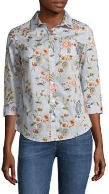 Karen Scott Petite Floral Paradise Cotton Button-Down Shirt