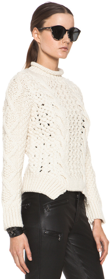 Yigal Azrouel Duo Merino Wool Knit Sweater in Bone
