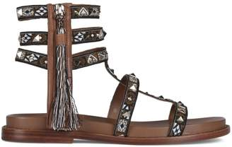 Ash Miracle Brown Leather Studded Gladiator Sandals