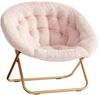 Pottery Barn Teen Iced Faux-Fur Blush with Gold Base Hang-A-Round Chair