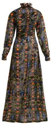 Preen by Thornton Bregazzi Ameline High Neck Silk Blend Devore Dress - Womens - Black Multi