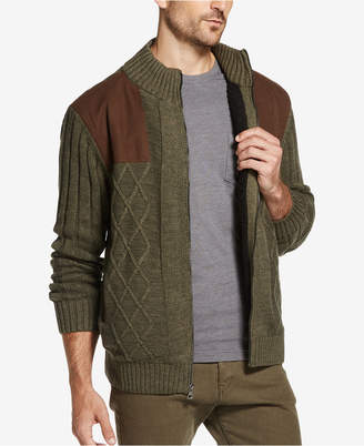 Weatherproof Vintage Men's Faux Suede-Patch Fleece-Lined Zip Sweater