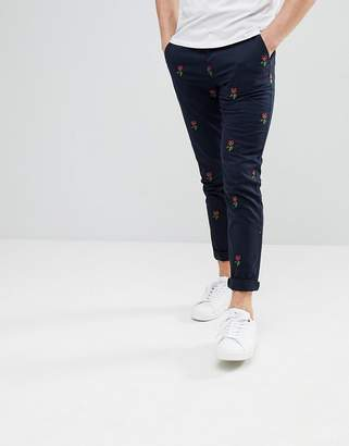 Asos DESIGN Skinny Pants With All Over Rose Embroidered Pattern