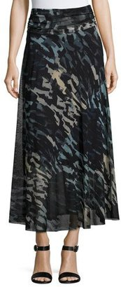 Fuzzi Abstract-Print Tulle Midi Skirt, Black/Blue $365 thestylecure.com
