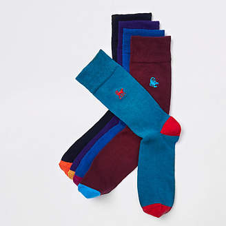 River Island Purple animal embroidered socks multipack