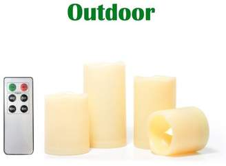 Candle Choice 4 Pack Indoor Outdoor Flameless Candles with Remote Timer Realistic Flickering Battery Operated LED Pillar Long Battery Life Melted Edge Party Wedding Birthday Home Holiday Decor Gifts