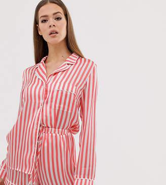 Missguided long sleeve short pyjama set in red stripe