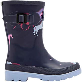 Joules Children's Unicorn Wellington Boots, Navy