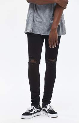 PacSun Ripped Zip Black Stacked Skinny Jeans
