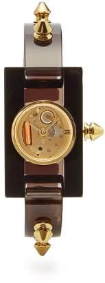 Gucci Stud-trimmed Plexiglas watch