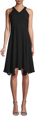Saks Fifth Avenue Gauzy Crepe Sleeveless Handkerchief Dress