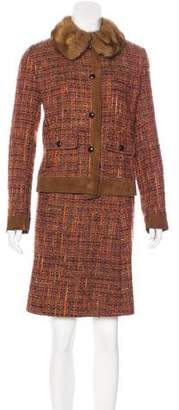 Dolce & Gabbana Sable-Trimmed Tweed Skirt Suit