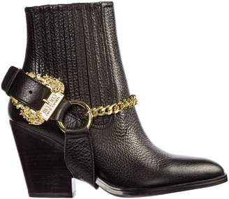 Versace Leather Heel Ankle Boots Booties