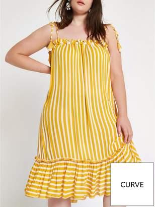 River Island RI Plus Stripe Beach Dress - Yellow