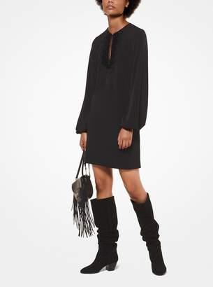 MICHAEL Michael Kors Lace-Neckline Matte-Jersey Keyhole Dress