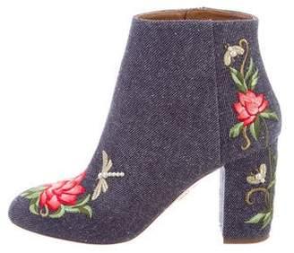 Aquazzura Lotus 85 Denim Embroidered Boots