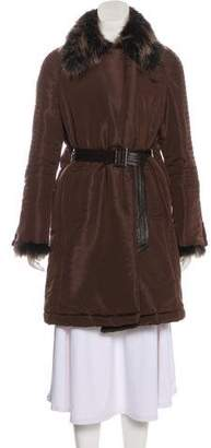 Giuliana Teso Fur-Trimmed Knee-Length Coat
