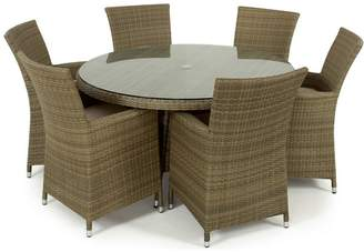 Debenhams MAZE RATTAN Light Brown Rattan Effect 'La' Round Garden Table And 6 Chairs