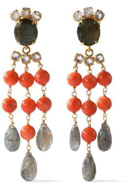 Bounkit Gold-tone, Stone And Crystal Earrings