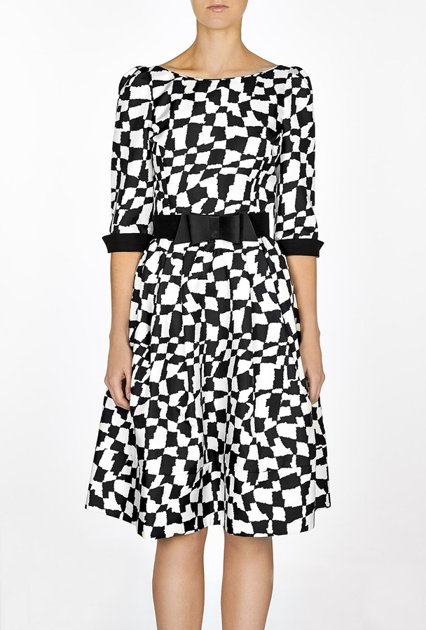 Suzannah Exclusive Graphic Print Fifties Dress
