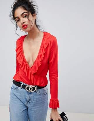 Asos DESIGN ruffle wrap top in red