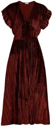 Masscob Deep V-neck velvet midi dress