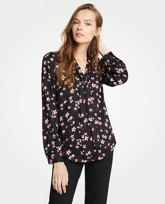 Ann Taylor Romantic Flower V-Neck Bow Blouse