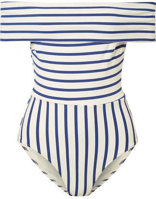 Solid & Striped The Vera Off-the-shoulder Striped Swimsuit - Blue