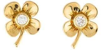 Van Cleef & Arpels 18K Diamond Lucky Clover Stud Earrings