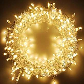 Twinkle Star Warm White 83FT 200 Plug in String Lights 8 Modes Waterproof Indoor Outdoor Christmas Tree Wedding Party Bedroom Wall Decoration