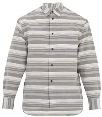 Lanvin - Oversized Striped Cotton And Silk Blend Shirt - Mens - Grey
