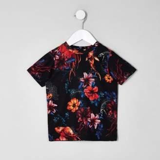 River Island Mini boys black floral short sleeve T-shirt