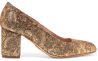 Michael Kors Collection - Gigi Metallic Brocade Pumps - Gold $650 thestylecure.com