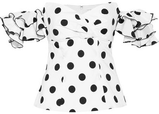 Caroline Constas Louisa Off-the-shoulder Polka-dot Cotton Top - White