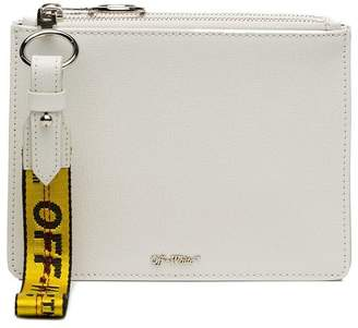 Off-White White double flat leather pouch