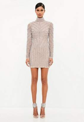 Missguided Silver High Neck Long Sleeve Beaded Mini Dress