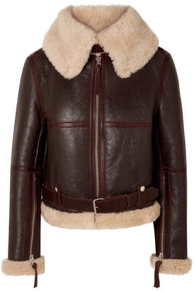 Acne Studios Shearling Aviator Jacket - Beige