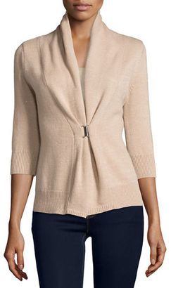 Neiman Marcus Cashmere Collection 3/4-Sleeve Cashmere & Lurex® Half-Sleeve Buckle Cardigan $340 thestylecure.com