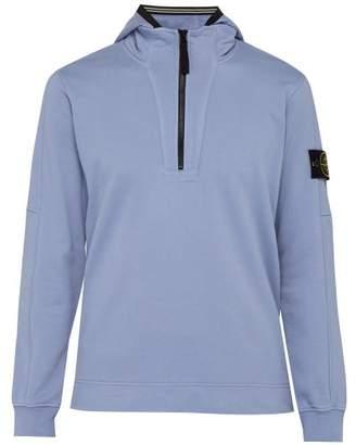 Stone Island Half Zip Cotton Hooded Sweatshirt - Mens - Light Purple