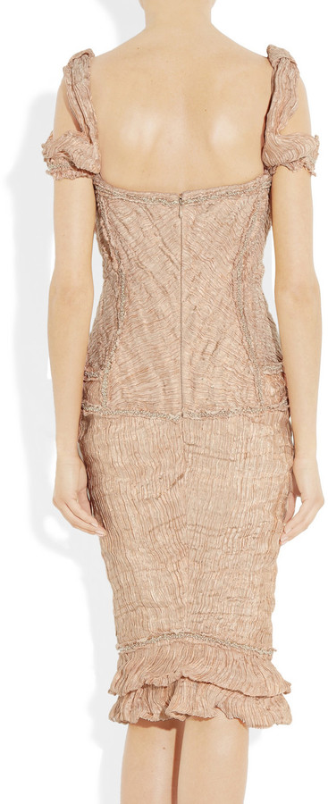 Alexander McQueen Embellished crinkled-organza and copper thread dress