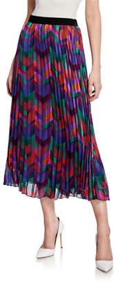 BA&SH Paolo Pleated Chevron Midi Skirt