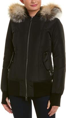 Nicole Benisti Leather-Trim Wool-Blend Bomber Jacket