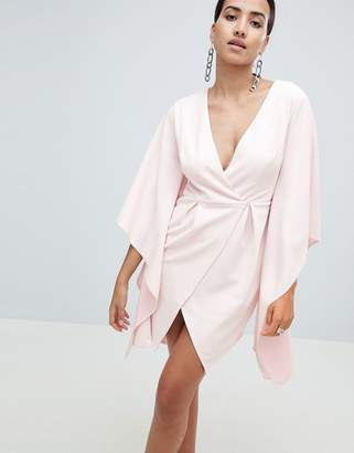 Asos Design crepe kimono sleeve mini dress