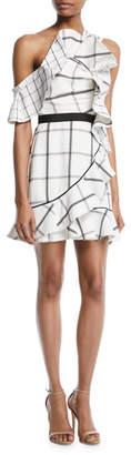 Self-Portrait Check Draped Frill Mini Dress