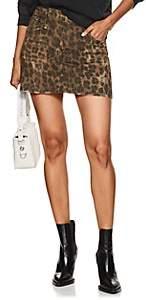 R 13 Women's Leopard-Print Denim Skirt-Neutral