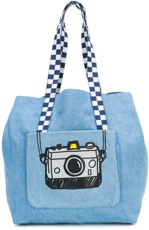 camera print shoulder bag