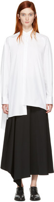 Yohji Yamamoto White Asymmetric Shirt $980 thestylecure.com