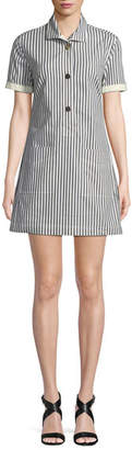 Derek Lam 10 Crosby Striped Button-Front Utility Shirtdress