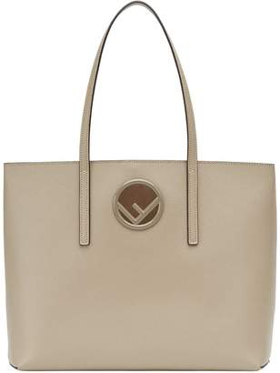 Fendi beige logo plaque leather shopper bag